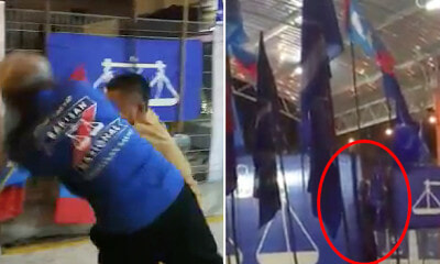 Elderly MCA Supporter Pushed Off the Stage for Allegedly Removing PKR Flags - WORLD OF BUZZ