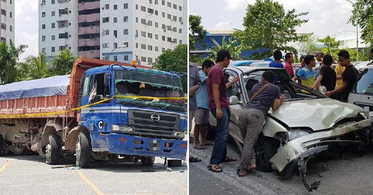 Errant Lorry Driver Refuses to Stop for Police, Plows Through 15 Cars in USJ - WORLD OF BUZZ 1