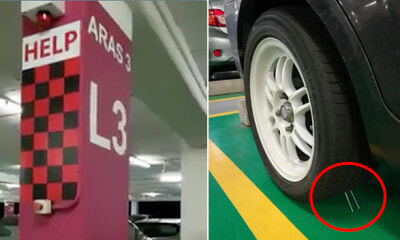 Man Shockingly Finds Two Nails Leaning Against Front Tyre at ERL Station Carpark - WORLD OF BUZZ