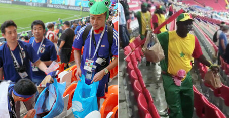Japanese and Senegal Fans Earn World Wide Respect For Cleaning Up After World Cup Matches - WORLD OF BUZZ