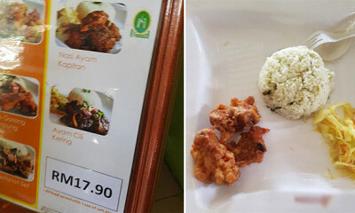 "M'sian Family Pays RM290 and Gets ""Some Rice, 3 Cubes  of Chicken and Some Vegetables"" - WORLD OF BUZZ"