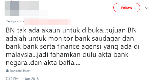 M'sian Gets Roasted After Tweeting That Tabung Harapan Should Have Opened a Bank Negara Account - WORLD OF BUZZ 3