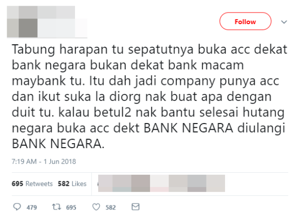 M'sian Gets Roasted After Tweeting That Tabung Harapan Should Have Opened a Bank Negara Account - WORLD OF BUZZ