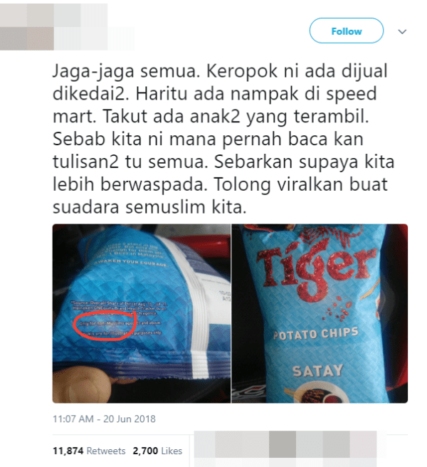 M'sian Warns Fellow Muslims Not to Buy These Chips, Gets Hilariously Exposed Instead - WORLD OF BUZZ