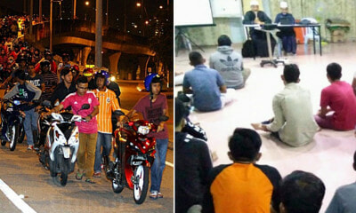 Police Make 93 Mat Rempits Push Their Bikes for 10km and Repent at Mosque - WORLD OF BUZZ