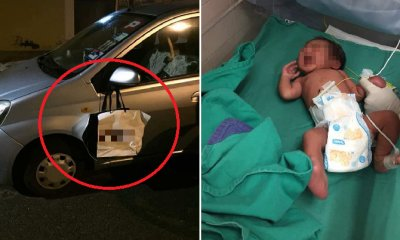 Newborn Baby in Ipoh Cruelly Abandoned in Paper Bag That's Hung on Car's Side Mirror - WORLD OF BUZZ