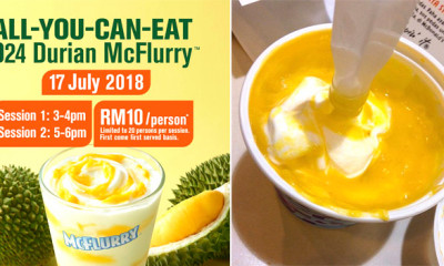 Pay RM10 and You Can Enjoy Unlimited D24 Durian McFlurry on 17 July! Here's the Details - WORLD OF BUZZ 1