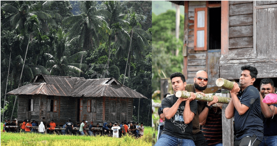 Students and Villagers Move a Whopping 6,000kg House in Kuala Kangsar - WORLD OF BUZZ