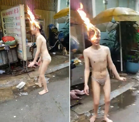 Crazy Video Shows Man So Overdosed on Drugs, He Didn't Realise Head's on FIRE - WORLD OF BUZZ 1