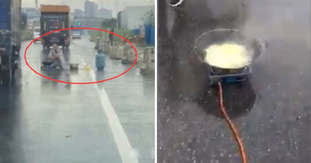 Man Bizarrely Starts to Cook Noodles In The Middle of The Road, Causes Massive Jam - WORLD OF BUZZ 4