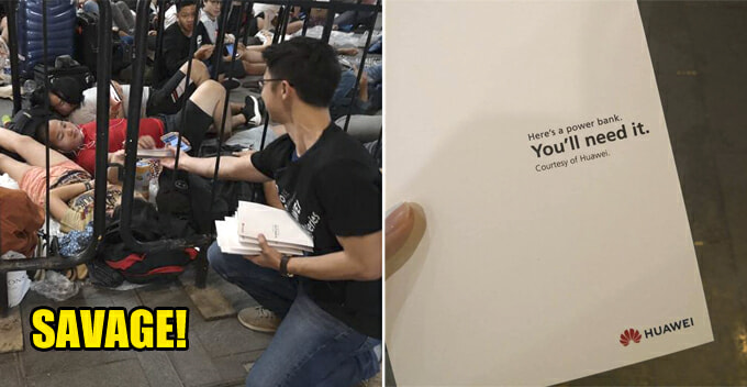 Huawei Trolls Apple by Giving Out Free Power Banks to iPhone Fans Camping Outside The Store - WORLD OF BUZZ 1