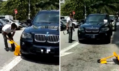 Viral Video Shows BMW Driver Who Parked Illegally in Taman Desa Destroying Car Clamp - WORLD OF BUZZ 4