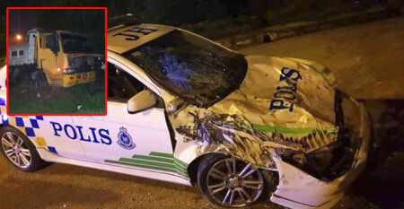 15-Year-Old M'sian Steals Lorry And Rams Through 2 Police Cars in High-Speed Chase - WORLD OF BUZZ 1