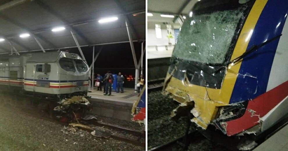 KTM Experiencing Delays After Crashing With Cargo Train at Tanjung Malim Station - WORLD OF BUZZ
