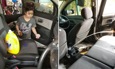 M'sian Daughter Literally Wash Up the Car After Mother Asked Her to Clean Up - WORLD OF BUZZ