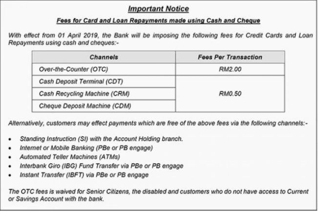 There'll Be Extra Fees For Card & Loan Repayments In Public Bank With Cash & Cheques From April 2019 - World Of Buzz