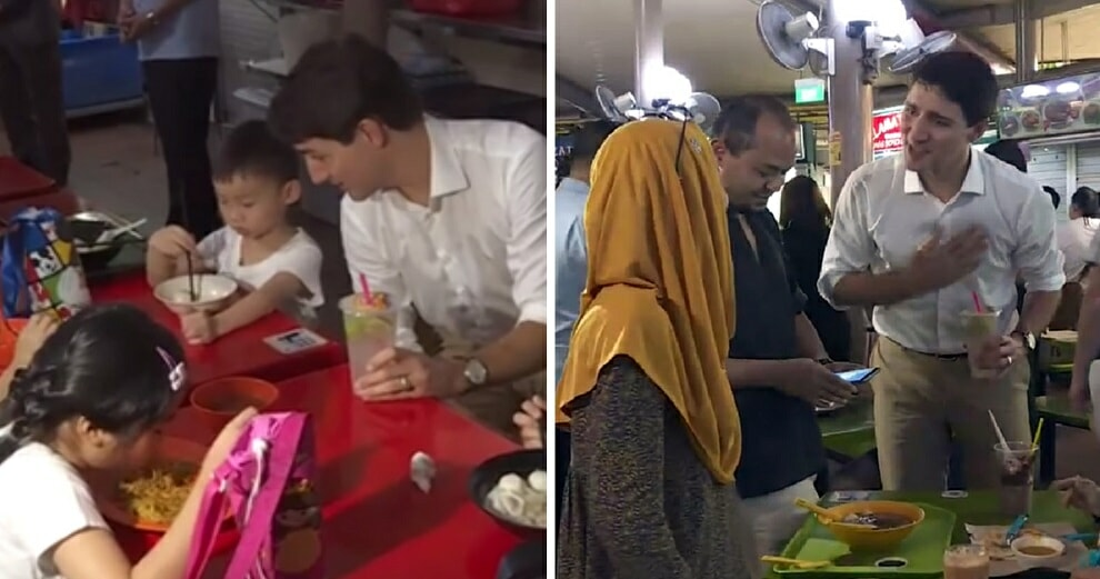 Canadian PM Spotted 'Yumcha'-ing With Locals at A Singaporean Hawker Centre - WORLD OF BUZZ