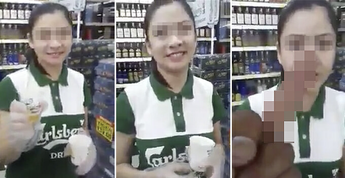 Innocent Beer Promoter Gets Shamed And Flipped Off For Doing Her Job in Giant Hypermarket - WORLD OF BUZZ 1