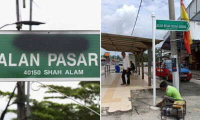 Some Shah Alam Road Signs Had Chinese Characters Sprayed with Black Paint, MBSA Begins Taking Them Down - WORLD OF BUZZ