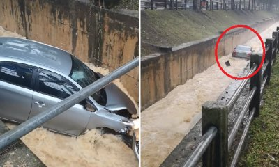 Toyota Vios Plunges and Floats Down The Storm Drain Near Sunway Giza Mall - WORLD OF BUZZ 3