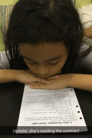 Cute 10-Year-Old Girl Signs Contract With Family To Get iPhone, Here's The Terms And Conditions - WORLD OF BUZZ 1