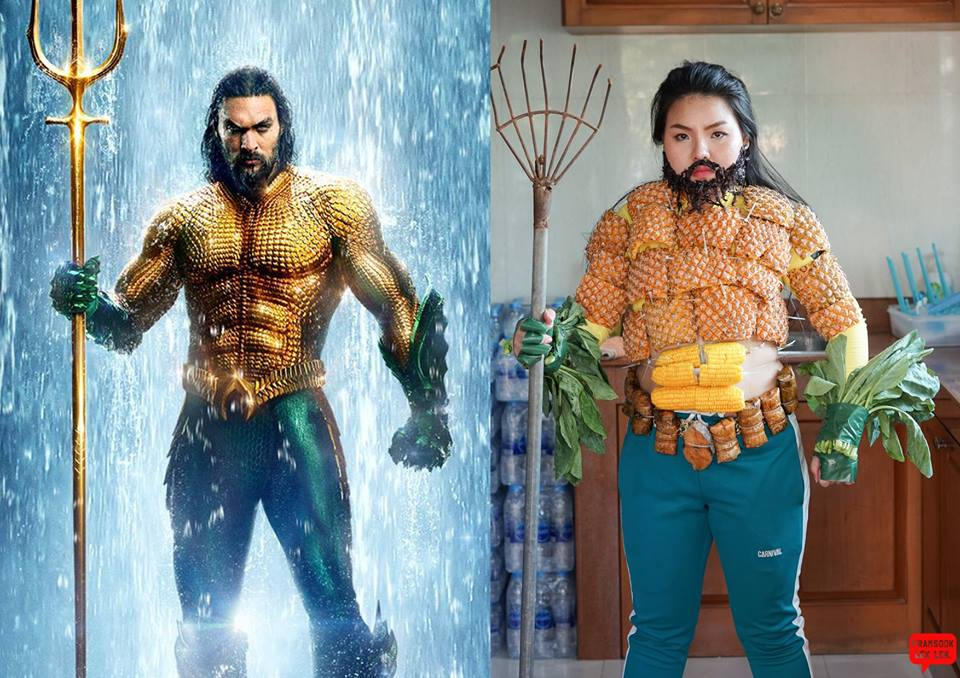 Girl Creatively Cosplays Aquaman's Iconic Suit Using Pineapples, Corn and Vegetables - WORLD OF BUZZ 1