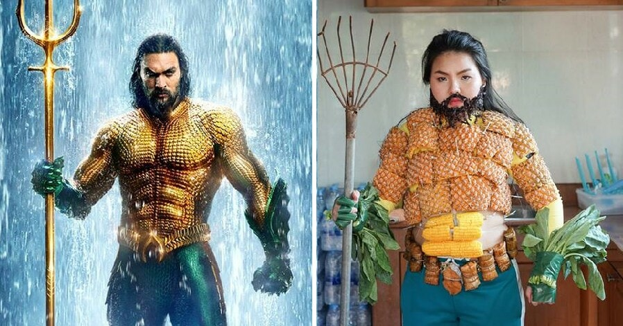 Girl Creatively Cosplays Aquaman's Iconic Suit Using Pineapples, Corn and Vegetables - WORLD OF BUZZ 6