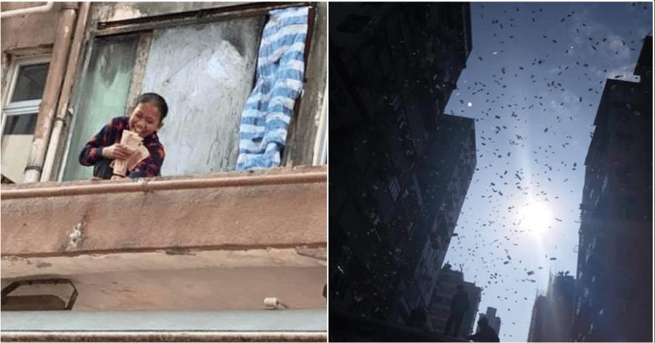 Money Rains Down in Hong Kong Neighborhood, Chaos Ensues - WORLD OF BUZZ