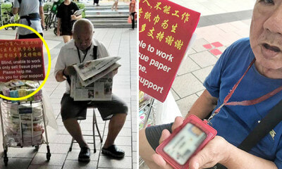 Blind Uncle Selling Tissue Caught Reading Newspaper, Says He's Not a Con Man - WORLD OF BUZZ 5