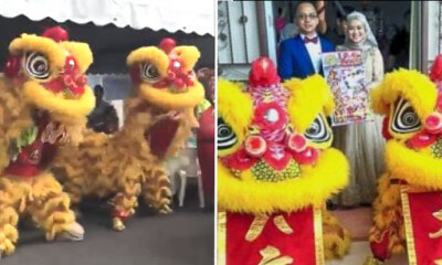 Malay Couple Get Lion Dance & Firecrackers To Celebrate Their Wedding - WORLD OF BUZZ 4