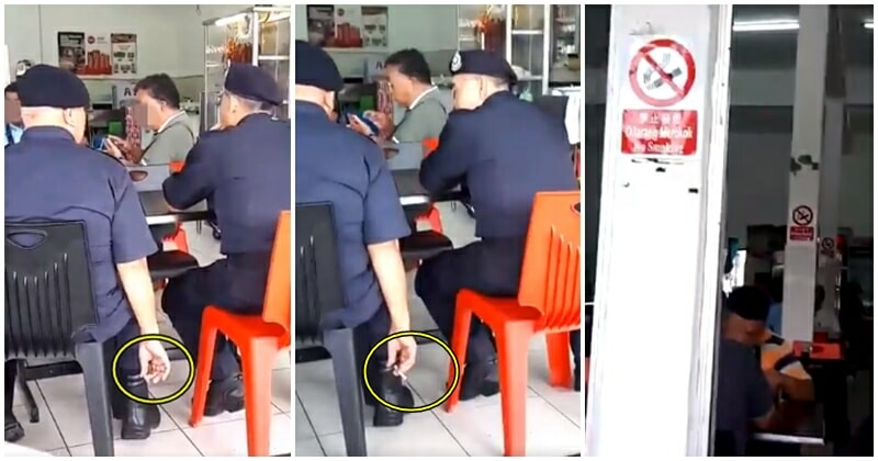 Netizens Triggered At Video Of Cops Puffing Away At Eateries, Despite Smoking Ban - WORLD OF BUZZ 5