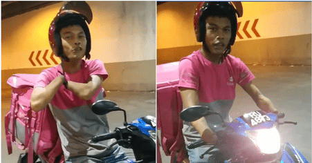 Watch: Special Needs FoodPanda Rider Demonstrates How He Rides His Motorbike - WORLD OF BUZZ 1