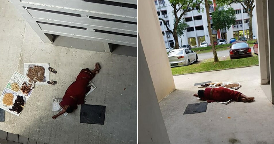Woman In Red Looked Like She Have Attempted Suicide, But Turns Out To Be Lying Down Drying Her Food Stuff - WORLD OF BUZZ