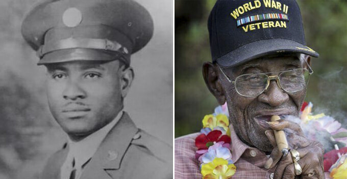 WW2 Veteran Who Loved Cigars, Whiskey, Sugar And Coffee Dies At 112 Years Old - WORLD OF BUZZ