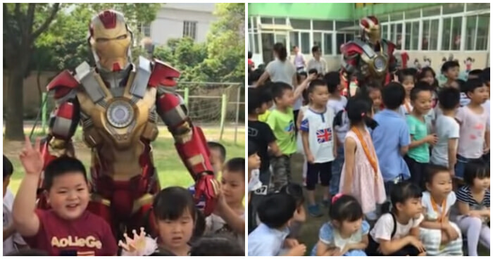 Devoted Father Visits Daughter's School in Iron Man Suit; Stops All Classes - WORLD OF BUZZ 4