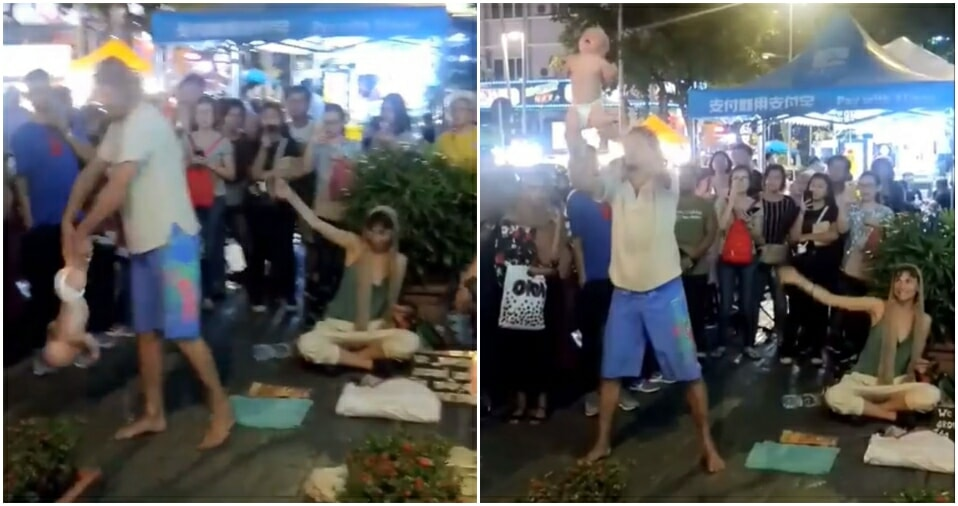 Disgusting 'Begpackers' Seen Doing Stunts with Baby for Money in Bukit Bintang - WORLD OF BUZZ