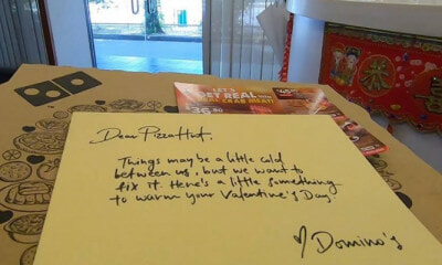 Domino's Sends Pizzas And Love Letter To Pizza Hut In Cheesy V-Day Surprise - WORLD OF BUZZ 3