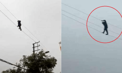 Drunk Man Walks on High-Voltages Powerlines, Firefighters Took 3 Hours to Get Him Down - WORLD OF BUZZ