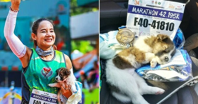 Marathon-Runner Finishes Race With Adorable Lost Pupper in Hand, Ends Up Adopting It - WORLD OF BUZZ