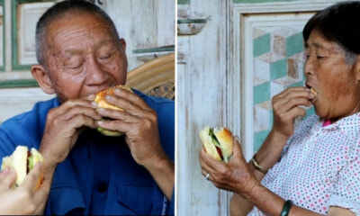 Kampung Grandparents Who've Only Seen Burgers on TV Happily Eat The Ones Granddaughter Made - WORLD OF BUZZ