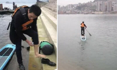 Man Sick Of Hour-Long Commute Starts Going To Work By Paddling Through River, Reaches There In 6 Min - WORLD OF BUZZ