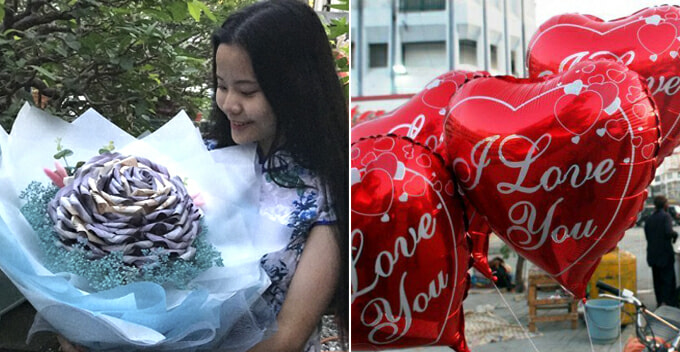 Sweet Man Gives GF Flowers Made Out Of Money Worth RM9,000 for Valentine's - WORLD OF BUZZ