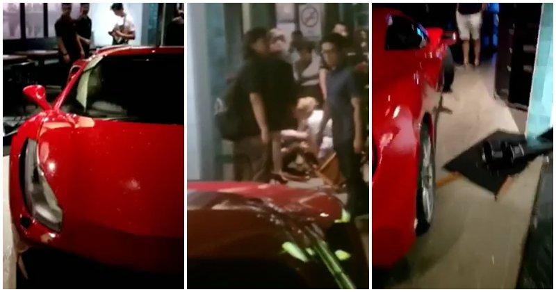 A Red Ferrari Crashed Into A Restaurant Bar In Jalan Batai, Bukit Damansara - World Of Buzz
