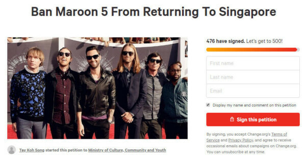 S'pore Calling For A Ban On Maroon 5 & Man United For Their Diabetes & Devil Link - WORLD OF BUZZ 1
