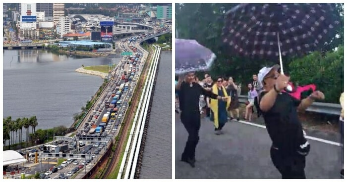 These Tourists Were Stuck on Malaysia-Singapore 2nd Link for 8Hrs, So They Started Dancing & Singing - WORLD OF BUZZ