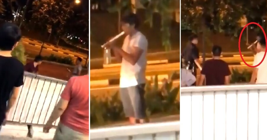 Bizarre Fight Sees Man Playing Recorder in Front of Police While Another Man Wields Potted Plant - WORLD OF BUZZ 5