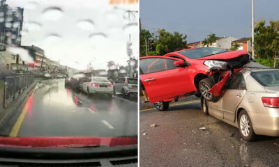 Dash-cam Footage Shows How Perodua Myvi Shockingly Lands On Toyota Camry Near Atria Mall - WORLD OF BUZZ
