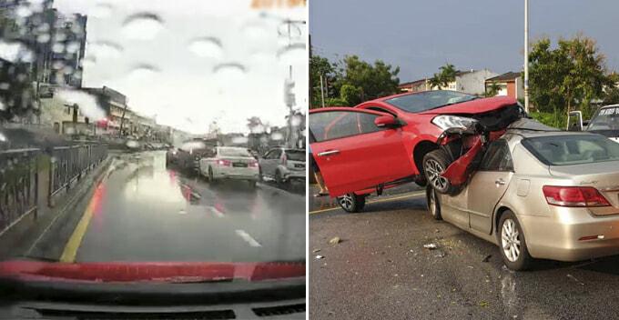 Dash-cam Footage Shows How Perodua Myvi Shockingly Lands On Toyota Camry Near Atria Mall - WORLD OF BUZZ