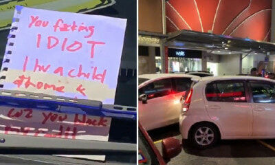 Frustrated Driver Rams into Double-Parked Car in Bangsar for Blocking Her Exit & Leaves Savage Note - WORLD OF BUZZ 1