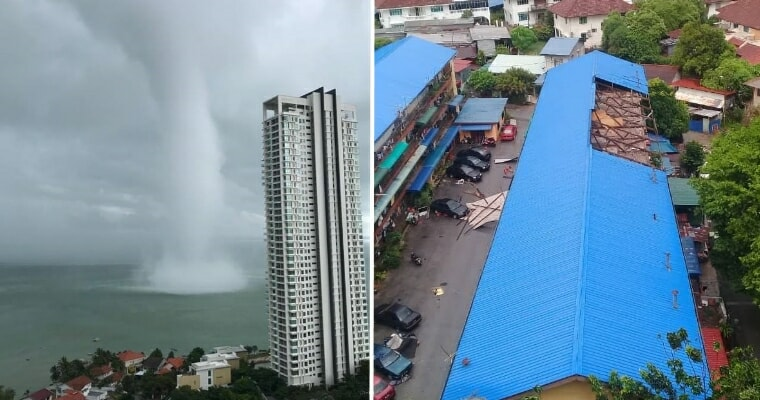 Waterspout in Penang Creates Huge Waves in Sea While Tearing Down Stalls & Trees - WORLD OF BUZZ 1